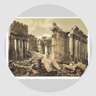 Temple of Jupiter, the facade, Baalbek, Holy Land, Round Stickers