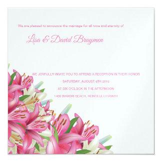 Temple Wedding Invitation Reception Card-Lilies