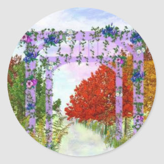 Temple with vines classic round sticker