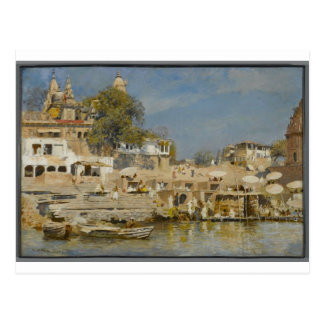 Temples and bathing ghat at Benares by Edwin Lord Postcard