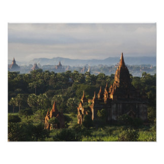 Temples at sunrise, Bagan, Myanmar Poster
