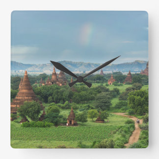 Temples in Bagan, Myanmar Square Wall Clock