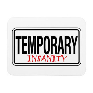Temporary Insanity Road Sign Rectangle Magnet