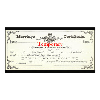 Temporary Marriage Certificate Photo Card Template