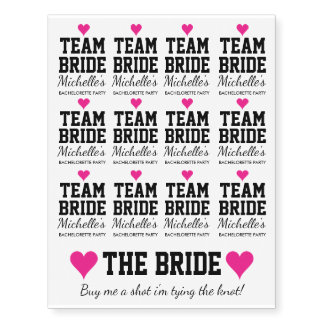 Temporary team bride bachelorette party tattoos