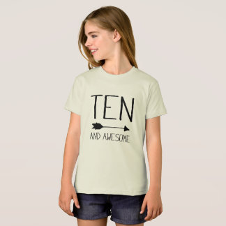 Ten And Awesome 10th Birthday Gift (Light) T-Shirt