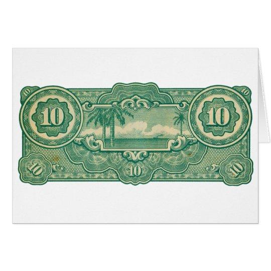 Ten Bucks Play Money Bill Back Card