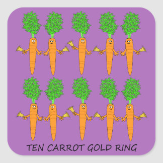 Ten Carrot Gold Ring Square Sticker