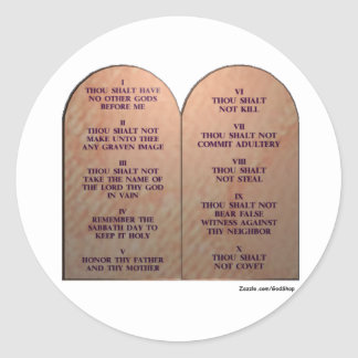 Ten Commandments Classic Round Sticker