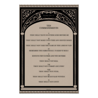 Ten Commandments on Parchment Art Deco Arch Scroll Poster