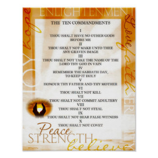 Ten Commandments with Sunset in Praying Hands Poster