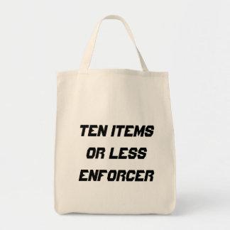 Ten items or less enforcer canvas bag