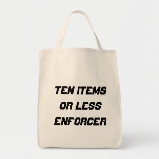 Ten items or less enforcer grocery tote bag