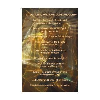 Ten Native American Commandments Canvas Prints