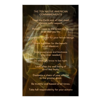Ten Native American Commandments Poster