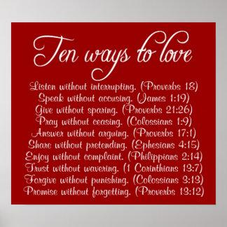 Ten ways to Love bible verse poster