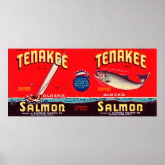 Tenakee Brand Salmon Label- Seattle, WA Poster