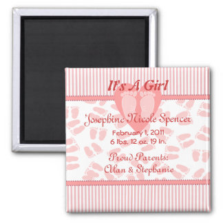 Tender Feet Baby Girl Birth Announcement Square Magnet
