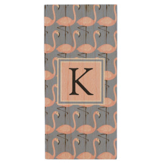 Tender Flamingo Pattern | Monogram Wood USB 2.0 Flash Drive