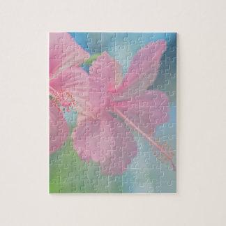 Tender macro shoot of pink hibiscus flowers jigsaw puzzle