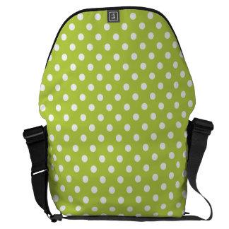 Tender Shoots Green Polka Dot Pattern Messenger Bags