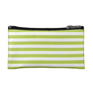 Tender Shoots Green Stripes Pattern Cosmetic Bags