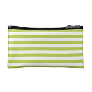 Tender Shoots Green Stripes Pattern Makeup Bag