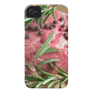 Tenderloin of raw beef with herbs and spices iPhone 4 cases