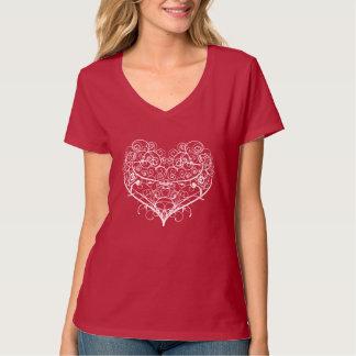 Tendril white heart on dark tee shirt