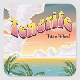 Tenerife beach classic Holiday poster Square Sticker