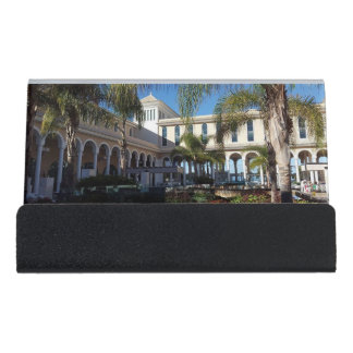 Tenerife Hotel and Palm Trees Desk Business Card Holder