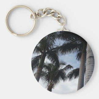 Tenerife Palm Trees Button Key Ring