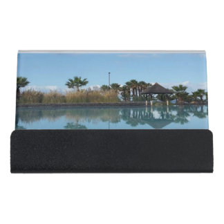 Tenerife Poolside View Desk Business Card Holder