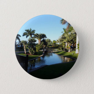 Tenerife Stream with Palm Trees Button Badge