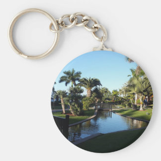 Tenerife Stream with Palm Trees Button Key Ring