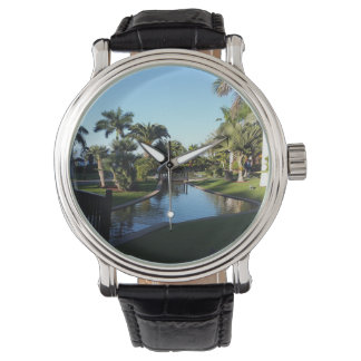 Tenerife Stream with Palm Trees Leather Watch