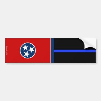 Tenn. Flag & Police Thin Blue Line Bumper Sticker