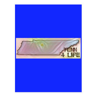 """""""Tennessee 4 Life"""" State Map Pride Design Postcard"""