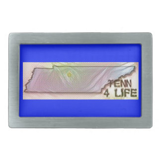 """Tennessee 4 Life"" State Map Pride Design Rectangular Belt Buckle"