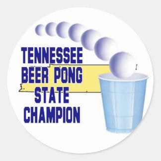 Tennessee Ber Pong Champion Round Sticker