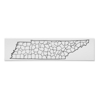 Tennessee Counties Blank Outline Map Poster