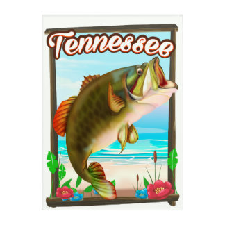 Tennessee Fishing poster. Acrylic Print