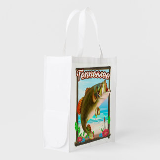 Tennessee Fishing poster. Reusable Grocery Bag