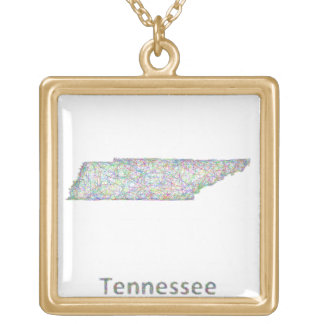 Tennessee map gold plated necklace