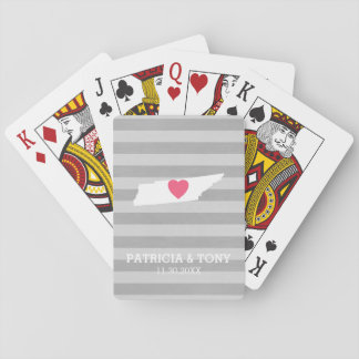 Tennessee Map Home State Love Optional Heart Playing Cards