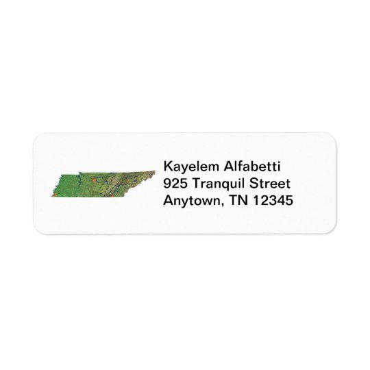 Tennessee Map Return Address Label