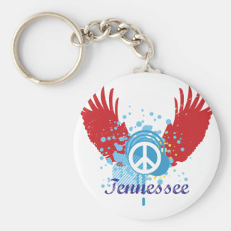 Tennessee Peace Sign Basic Round Button Key Ring