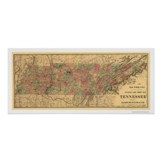 Tennessee Railroad & Post Office Map 1888 Poster