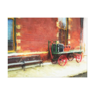 Tennessee Railroad Station Vintage Luggage Cart Canvas Print
