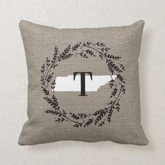 Tennessee Rustic Wreath Monogram Throw Pillow